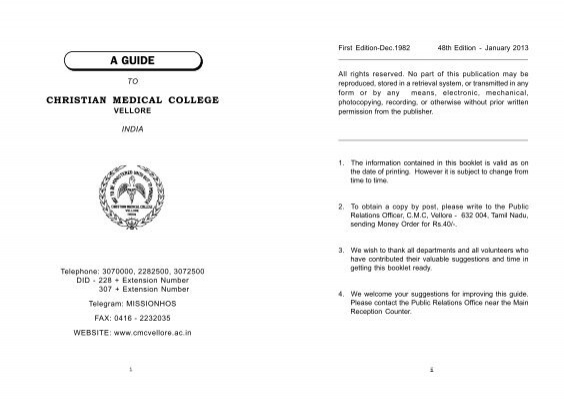 Patient Guide Book - Christian Medical College