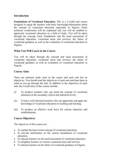 objectives of vocational guidance