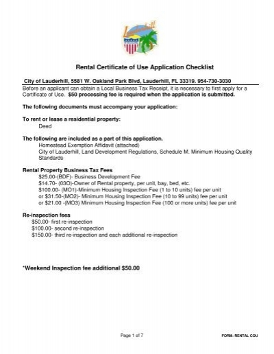 Rental Certificate of Use Application Checklist - City of Lauderhill