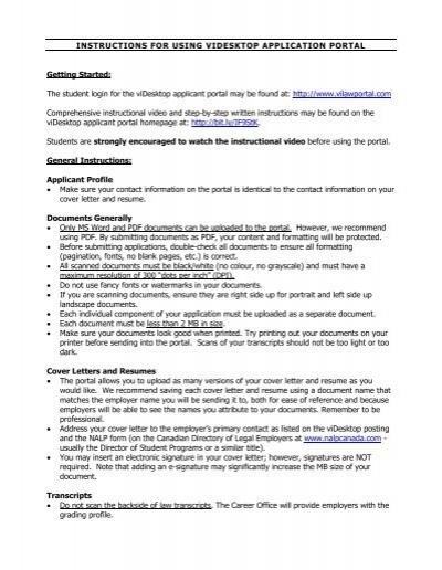 INSTRUCTIONS FOR USING VIDESKTOP APPLICATION PORTAL