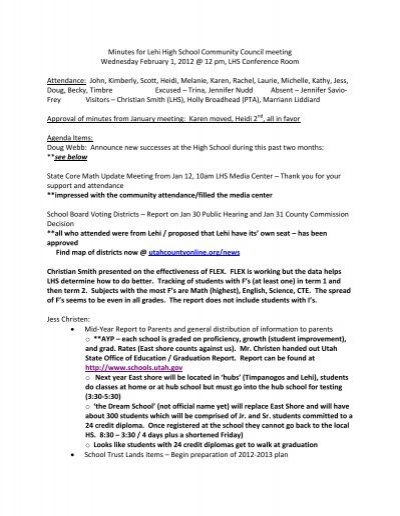 Minutes For Lehi High School Community Council Meeting