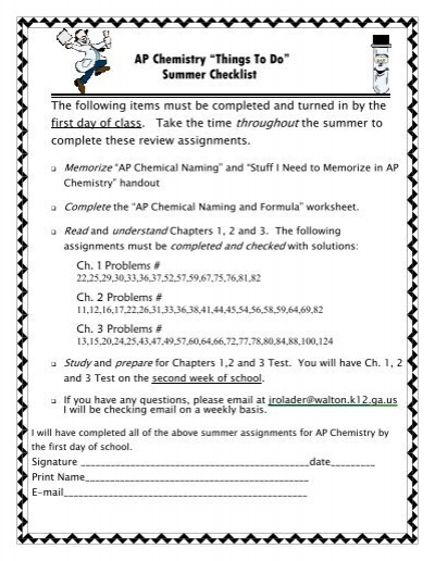 "AP Chemistry ""Things To Do"" Summer Checklist"