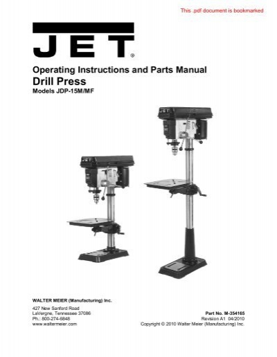 Operating Instructions And Parts Manual Drill Press Home Depot