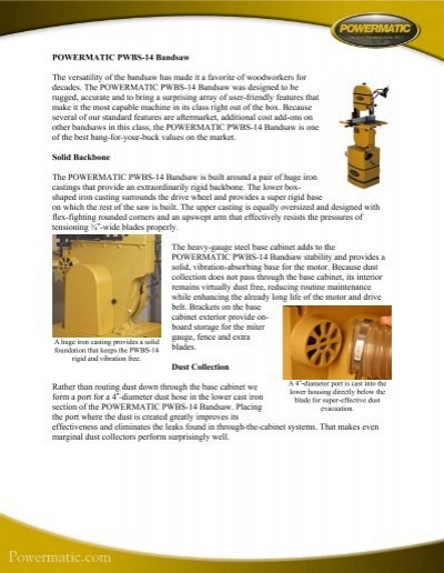 POWERMATIC PWBS-14 Bandsaw The versatility of the bandsaw ...