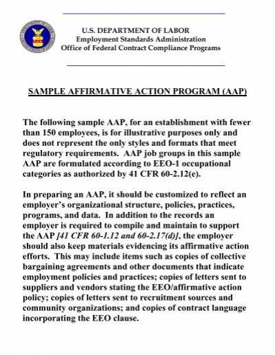 Sample Affirmative Action Program Aap The Following