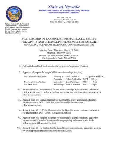 Agenda  State Board Of Examiners For Marriage And Family Therapists