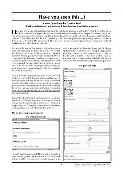 have you seen this a web questionnaire creator journals