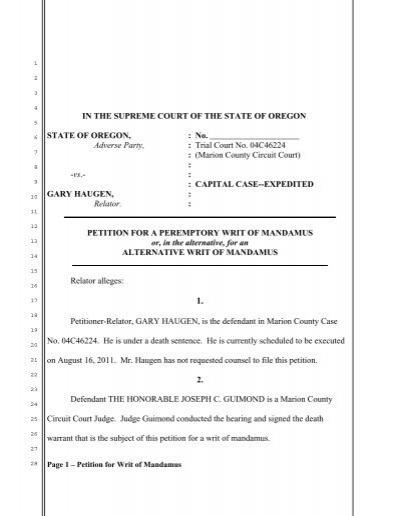 Petition for Writ of Mandamus - OregonLive.com