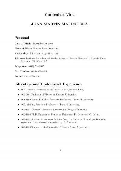 Curriculum Vitae Juan Martin Maldacena Personal Education