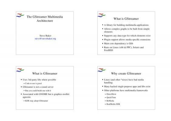 The GStreamer Multimedia Architecture What is GStreamer     - mirror