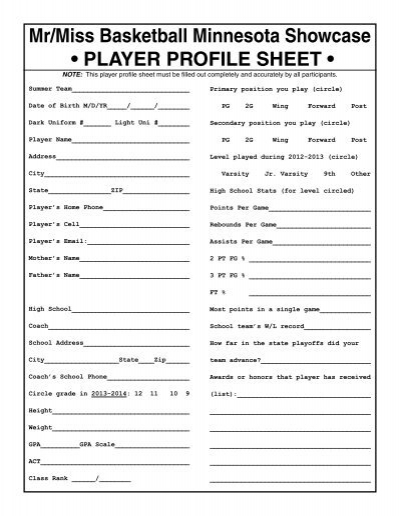 player profiles template player profile sheet