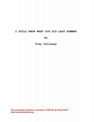 i know what you did last summer shooting script pdf