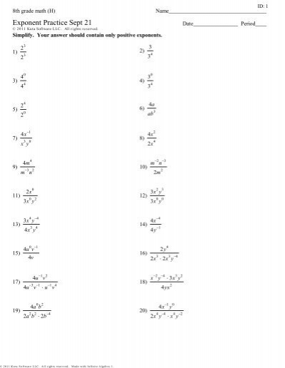 8th Grade Math (H) – Exponent Practice Sept 21