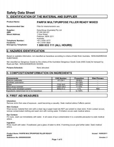 parfix sealant&gap filler msds pdf