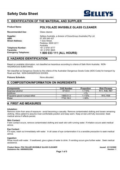 Polyglaze Invisible Glass Cleaner Msds