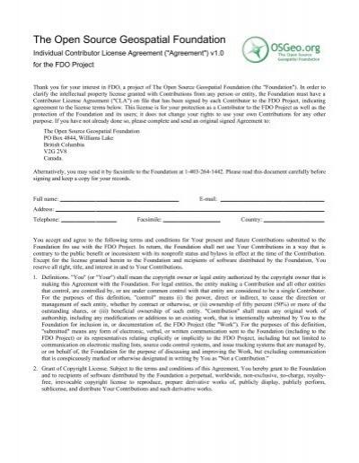 Individual Contributor Agreement Fdo