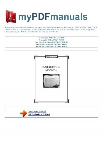 user manual breadman tr800 my pdf manuals rh yumpu com breadman tr800 recipes breadman tr800 recipes