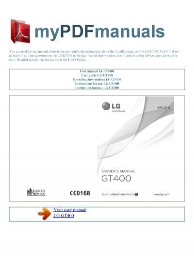 User Manual Lg Gt400
