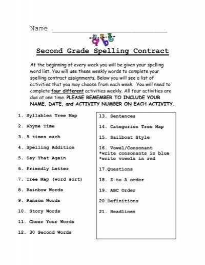 Second Grade Spelling Contract