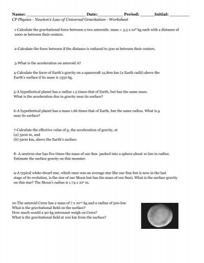 Universal_Gravitation-worksheet-answers