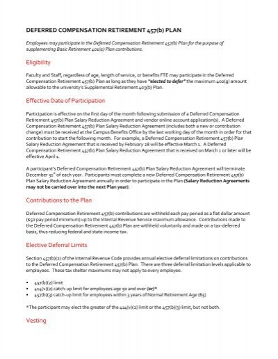 Deferred Compensation Plan 457b University Of Nebraska