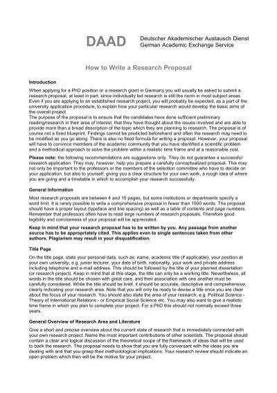 How to write good research proposal pdf