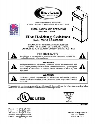 Hot Holding Cabinet (Mo. CS82-CH8 & CS36-H3) - Parts Town