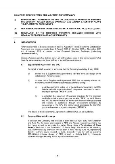 Mas Or Company I Supplemental Agreement To Chartnexus