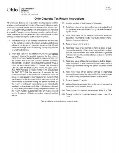 Ohio Cigarette Tax Return Instructions Ohio Department Of Taxation