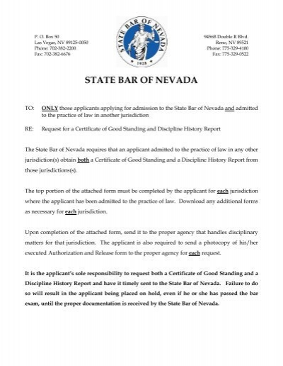 Request for Certificate of Good Standing - State Bar Of Nevada