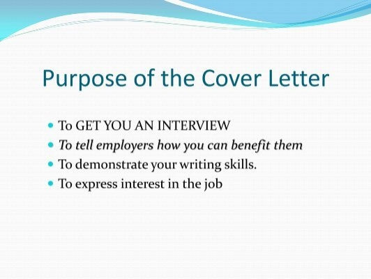 purpose of a cover letter purpose 25506