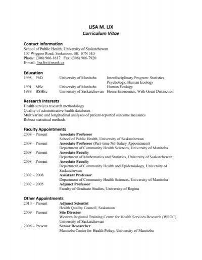 lisa m  lix curriculum vitae - homepage usask