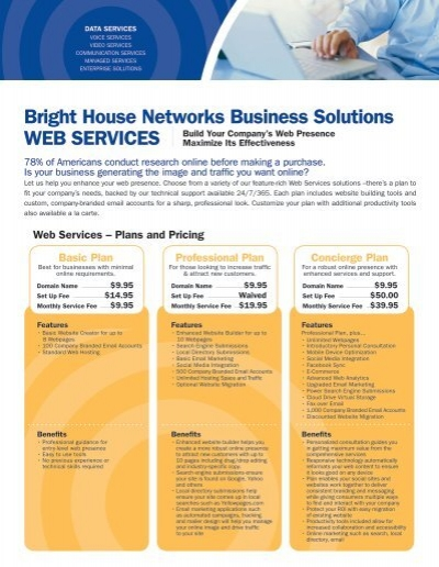 Web Hosting Data Sheet Bright House Networks Business Solutions
