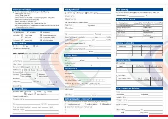 Credit Card Application - Dutch-Bangla Bank Limited