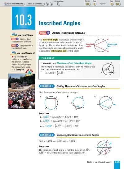 10 3 Inscribed Angles Nexuslearning