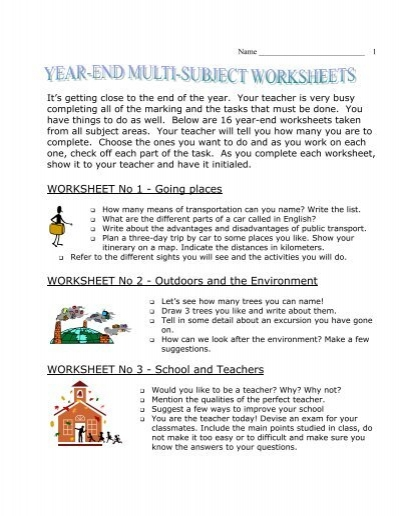 Year End Multi Subject Worksheets
