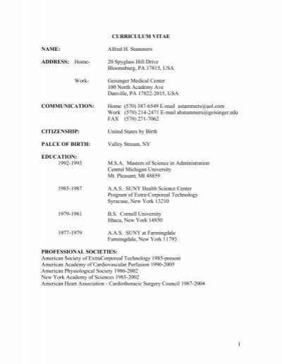 1 curriculum vitae name alfred h stammers address