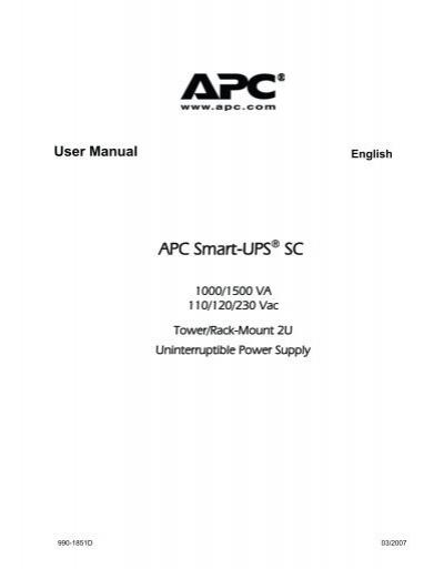 Apc Smart Ups Sc 1500 Manual Pdf