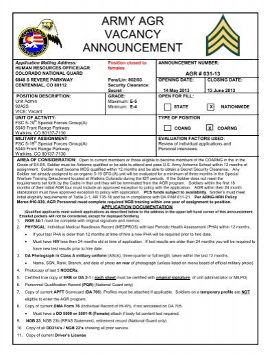 ARMY AGR VACANCY ANNOUNCEMENT - Colorado National Guard