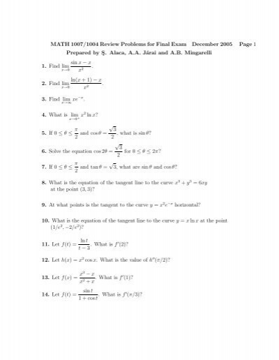 MATH 1007/1004 Review Problems for Final Exam December 2005