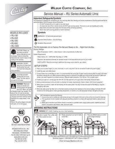 Electric Thermostat Ru Wilbur Curtis WC-3217 Knob
