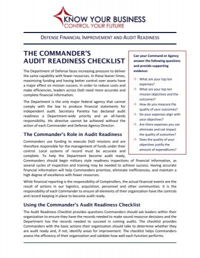 THE COMMANDER'S AUDIT READINESS CHECKLIST - Comptroller