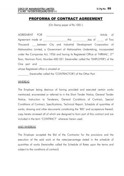 Proforma Of Contract Agreement The E Tendering System For