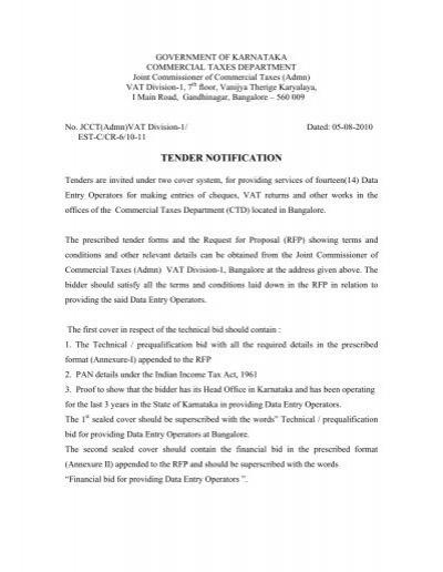 TENDER NOTIFICATION - VAT e-Filing System