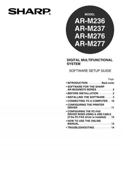 Sharp ar-m236/m276 user manual operation manual, software setup.