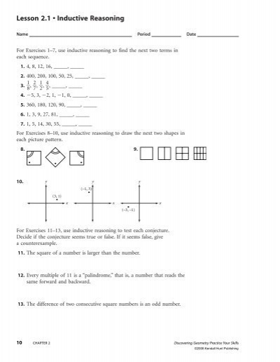 Printables Inductive Reasoning Worksheets lesson 2 1 inductive reasoning