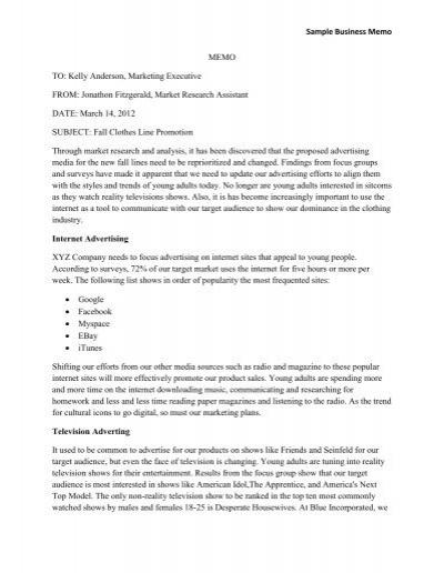 Sample Business Memo MEMO TO: Kelly Anderson, Marketing ...