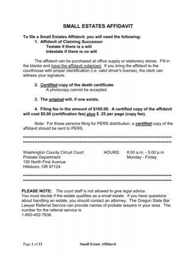 Small Estates Affidavit Oregon Judicial Department