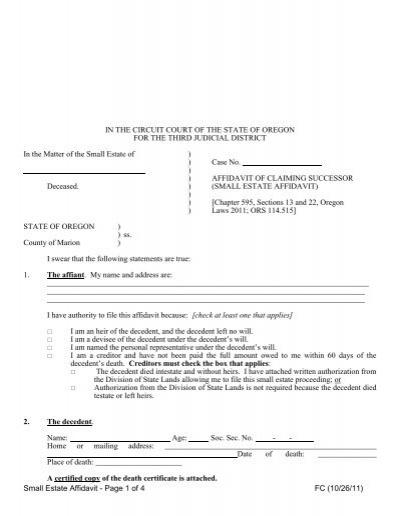 Affidavit Of Claiming Successor Small Estates Affidavit
