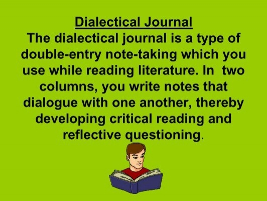 dialectical journal for hgm Students will read animal farm by george orwell, and complete ten (10)  dialectical journal entries (see instructions below) we will be using this text as a  basis.